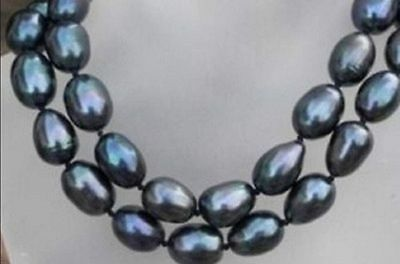 Charming 9-10mm black south sea baroque pearl necklace 34''