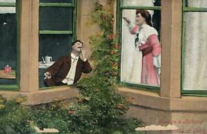 1908-VINTAGE-COUPLE-in-LOVE-on-a-BALCONY-POSTCARD-USED