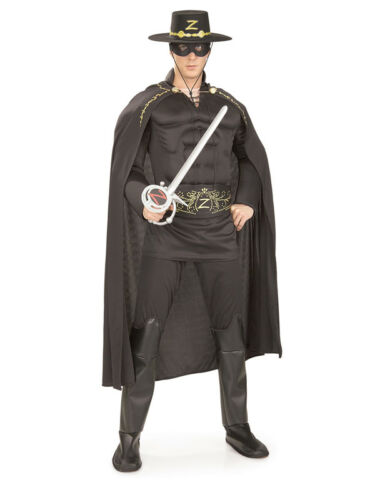 Adult Zorro Deluxe Muscle Chest Fancy Dress Costume Superhero Mens Gents Male BN