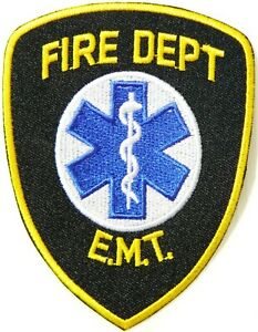 EMT FIRE DEPARTMENT Fighter Rescue Badge Patch Iron on Uniform Bag T shirt Bag