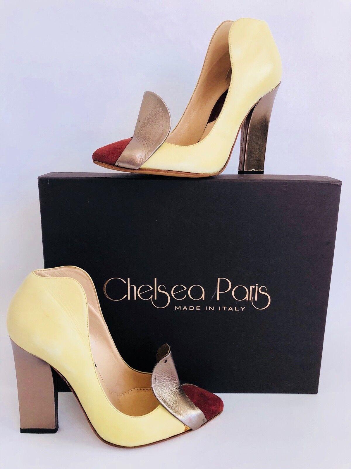 Vintage INSPIRED Chelsea Paris Cutout ART DECO Pump LEMON LIME Leather 37 6.5