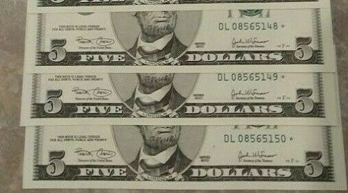 $5 2003 L San Francisco STAR NOTES Crisp CU Fresh SEQUENTIAL NUMBERS