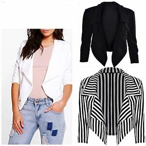 New-Womens-Ladies-Cropped-Style-Waterfall-Blazer-Jacket-Coat-Top-Plus-Size-8-26