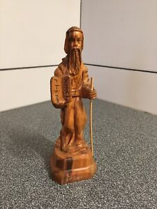 Vintage-Hand-Carved-Olive-Wood-Moses-amp-The-10-Commandments-8-Religious-AS-iS