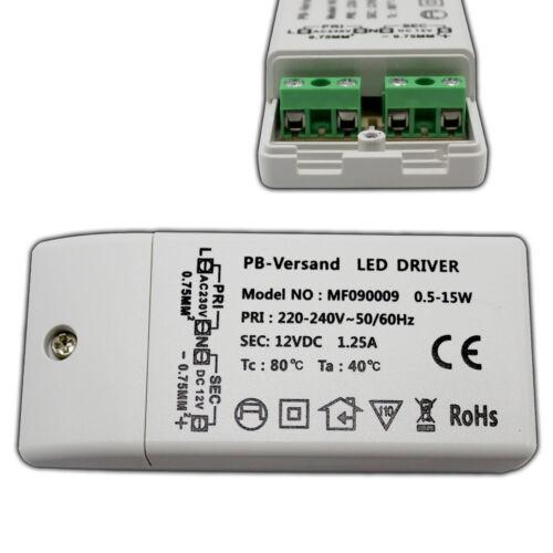 LED Trafo 12V DC 0,5-15 Watt Netzteil Treiber Transformator Driver Lampen