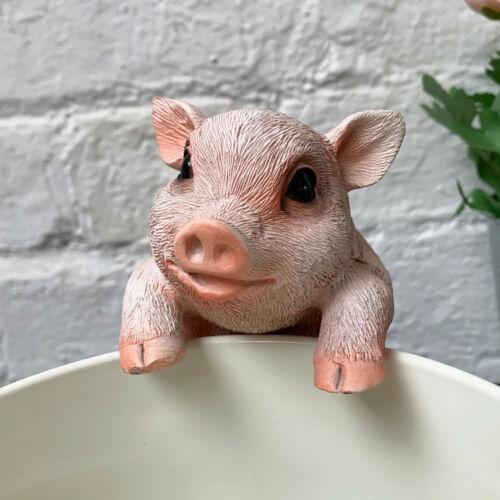 Pink Pig Sculpture Farm Animal Flower Plant Pot Hanger Pal Decorative Ornament A