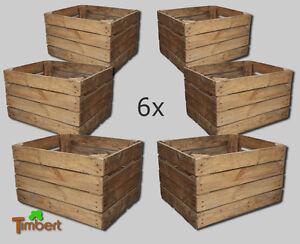 6x vecchio cassetta frutta cassetta mele vintage cassa per legna