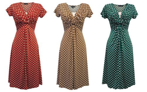 1940s Dresses   40s Dress, Swing Dress   New Ladies Wartime Vintage style WW2 Land girl 1940s Polka Dot Tea Dress £39.99 AT vintagedancer.com