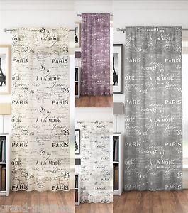 Traditionnel-Vintage-Paris-Texte-filet-voile-simple-panneau-rideau-motif-uni
