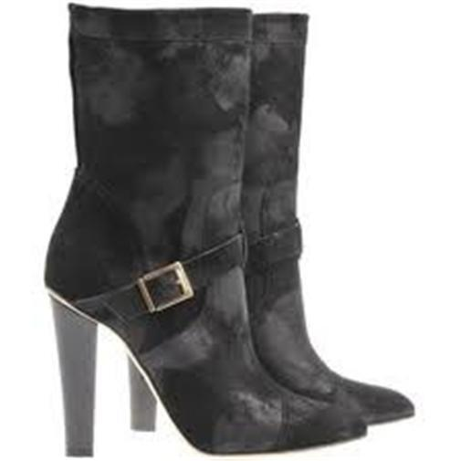 Jimmy Choo FINCH WAS Waxed Leather Distressed Mid Calf Boots Black 39.5 $1095