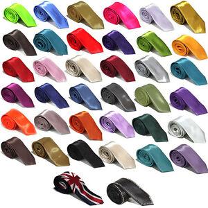 Mens-2-Slim-Satin-Tie-Black-White-Blue-Pink-Red-Green-Yellow-Gold-Silver-Grey