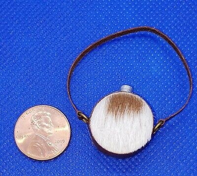 Dollhouse Miniature Artisan Handmade Aged Leather Western Canteen 1:12 Scale