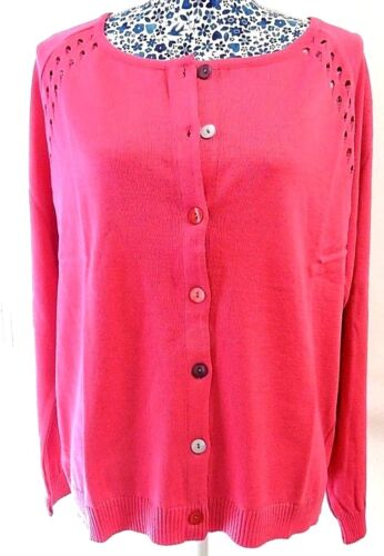 QVC Women Fuchsia Pink Shell Button Crochet Cardigan Jumper Sweater UK 12-22