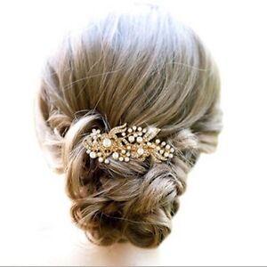 Pearl-Crystal-Hair-Comb-Gold-Bridal-Rhinestone-Wedding-Vintage-Bride-Headpiece