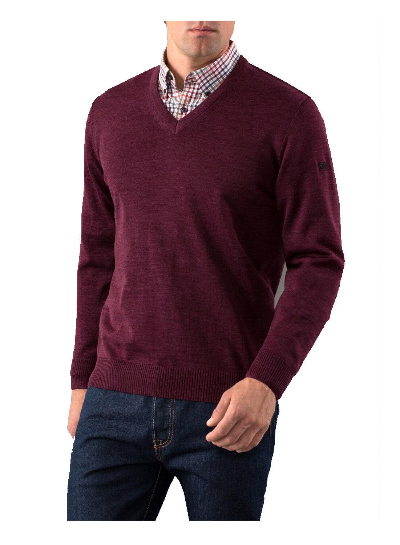 MAERZ Herren Pullover V-Ausschnitt Merino Superwash 490400-708 Cabernet