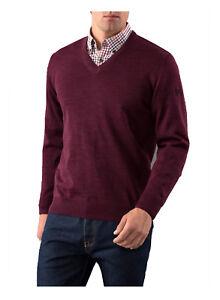Details zu MAERZ Herren Pullover V Ausschnitt Merino Superwash 490400 uni rot Cabernet NEU