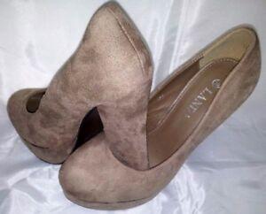 Decollete-Donna-Marrone-Tacco-Alto-Plateau-Scarpe-39-Woman-Shoes-Heel-Schuhe