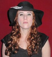 Hats With Hair Attached For Adults Kids Fun Wig And Hat Chemo black Straw