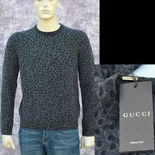 GUCCI New sz XXL - 2XL Auth Designer Wool Cashmere Leopard Print Mens Sweater