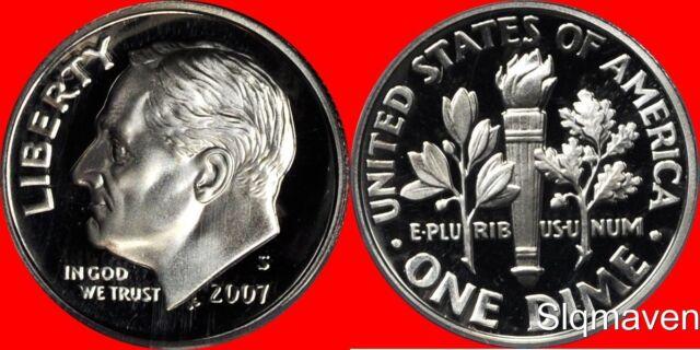2007 S 90/% Silver Gem Proof Roosevelt Dime-Deep cameo