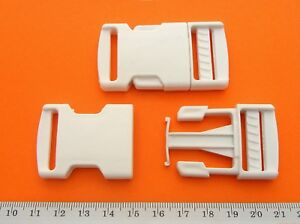 White-Buckle-Plastic-Clip-For-Craft-Webbing-Paracord-Bag-Strap-25mm-Side-Release