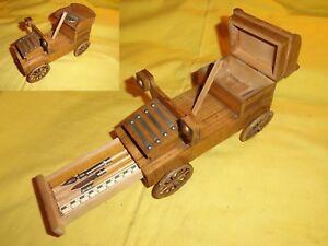 Ancien set de bureau en forme de tacot voiture en bois plume ouvre