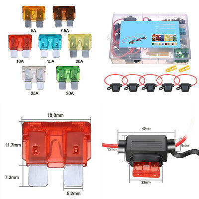Car Standard Blade Assorted Fuses x120 In-line Fuse Holder for ATC//ATO x5 Kit