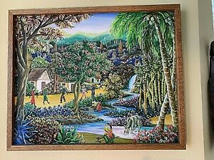 Haitian-Painting-Vintage-26-x21-034-framed-Signed-E-PAUL