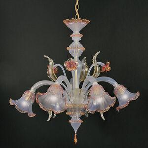 Vetrerie Di Murano Lampadari.Lampadario In Vetro Di Murano 5 Luci Opalino Oro Rosa Ebay