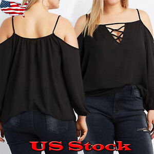 Plus-Size-Women-Cold-Shoulder-T-shirt-Summer-Ladies-Casual-Loose-Blouse-Tops-Tee
