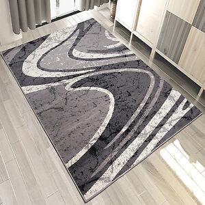 Das Bild Wird Geladen Teppich Modern GRAU Weiss Kurzflor Mit Gestreift Wohnzimmer