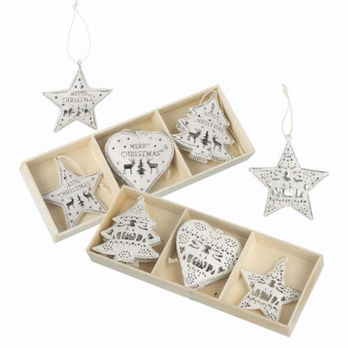 Set of 6 White Metal Christmas Tree Hanging Decorations Fretwork Merry Christmas