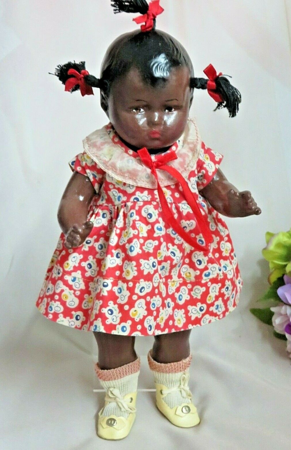 ANTIQUE vintage EFFANBEE schwarz Americana DOLL Patsy Face 12  composition KleidED