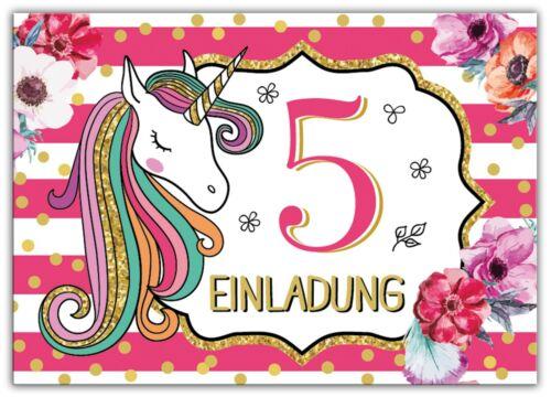 Kindergeburtstag fünfte Einladungen Umschlag Mädchen Einhorn Einladungskarten 5
