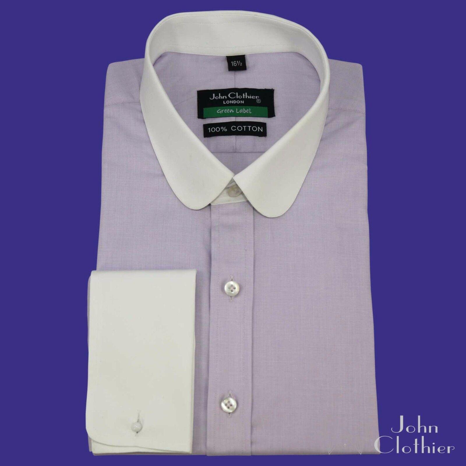 Herren Penny collar Banker Lilac Shamre Peaky Blinders Shirt Round Club collar