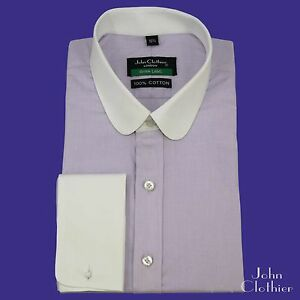 Shamre Chemise Rond Blinders Hommes Dandy Col Peaky Lilas Club Banquier wxxTZICq