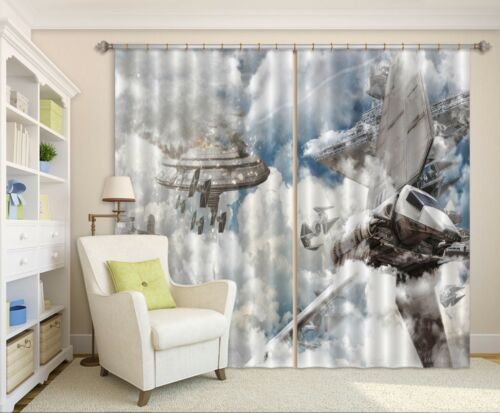 3D Spaceship Blockout Photo Curtain Printing Curtains Drapes Fabric Window AU