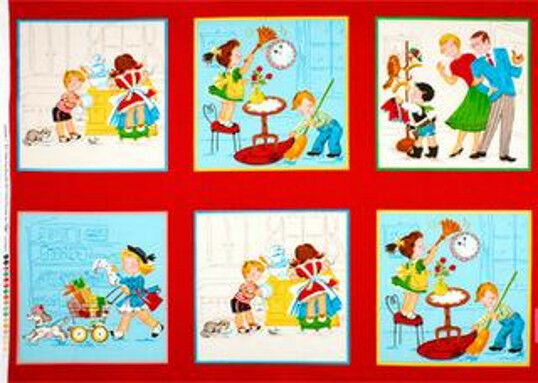 LIttle Helpers Fabric Panel Cricket Records Quilting Treasures   BFab