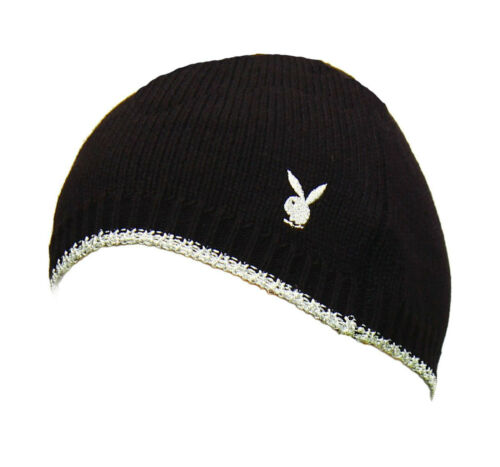 Black Silver Knitted Playboy Beanie Hat