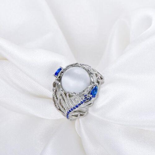925 Argent Sterling Lune Saphir Fleur Anneaux Fête Noël Cadeau pour Elle Femme