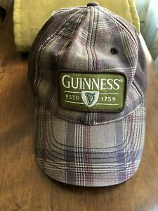 Guinness-Beer-Official-Merchandise-Green-Brown-Plaid-Baseball-Cap-Hat-Preowned