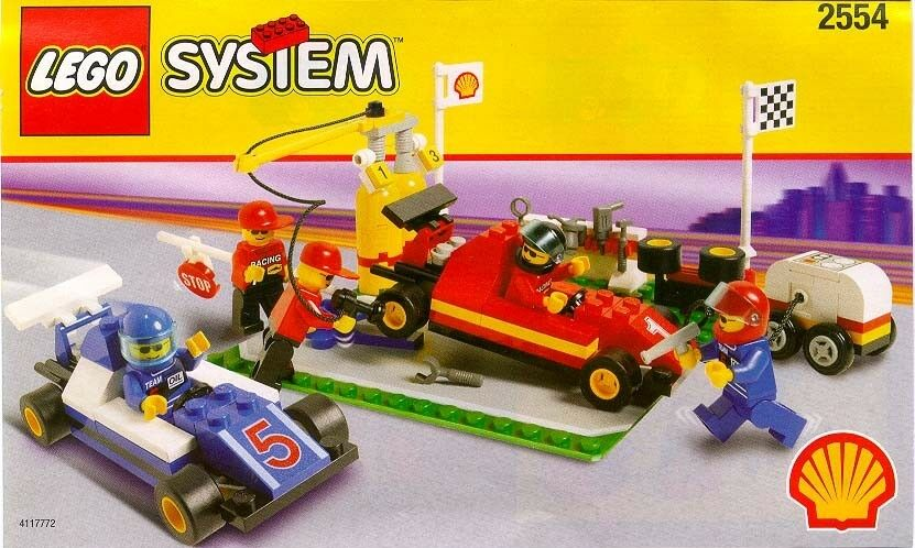 LEGO SYSTEM  2554 SHELL FORMULA 1 PIT STOP  5 MINIFIGURES  RARE✔BNIB NEW SEALED✔