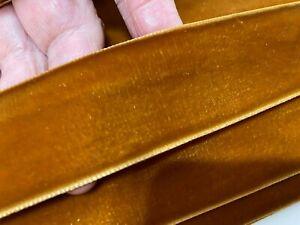 Vintage-1-5-034-Velvet-Ribbon-3yds-Caramel-Made-in-Switzerland