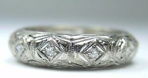 Antique-Vintage-Diamond-Eternity-Wedding-Band-Platinum-Ring-Size-6-5-EGL-USA