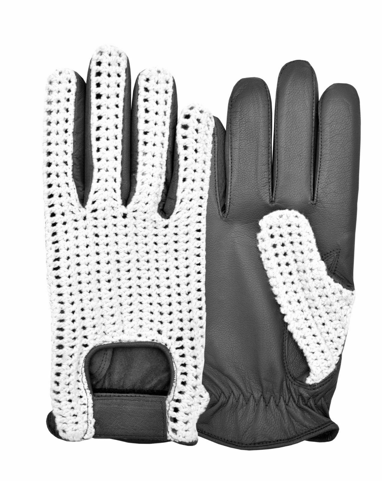Retro Driving Gloves Crochet High Quality Leather Strap Fasten limo chauffeur