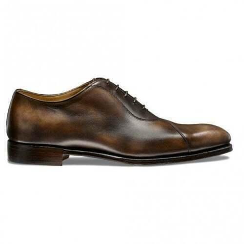 Mens Handmade shoes Tan Shaded Whole Cut Toe Cap Oxford Classic Formal Dress New