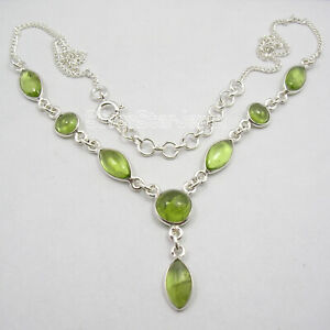 925-Sterling-Silver-Natural-Green-Marquise-Round-Peridot-Necklace-18-2-034