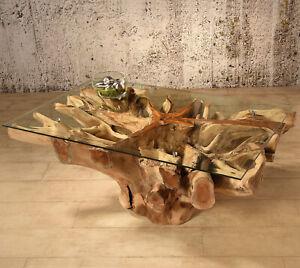 Details zu Wurzelholz Tisch Amazonas 110x70 Couchtisch Wohnzimmertisch Teakholz Massivholz