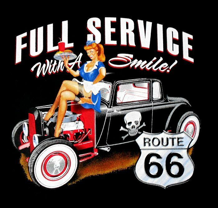 USA ROUTE 66 SERVICE WITH SMILE GIRL HOT STREET ROD SKULL SWEATSHIRT X88