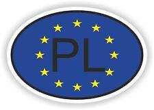 OVAL EUROPEAN UNION FLAG con PL Codice paese Autoadesivo Polonia Motocycle auto
